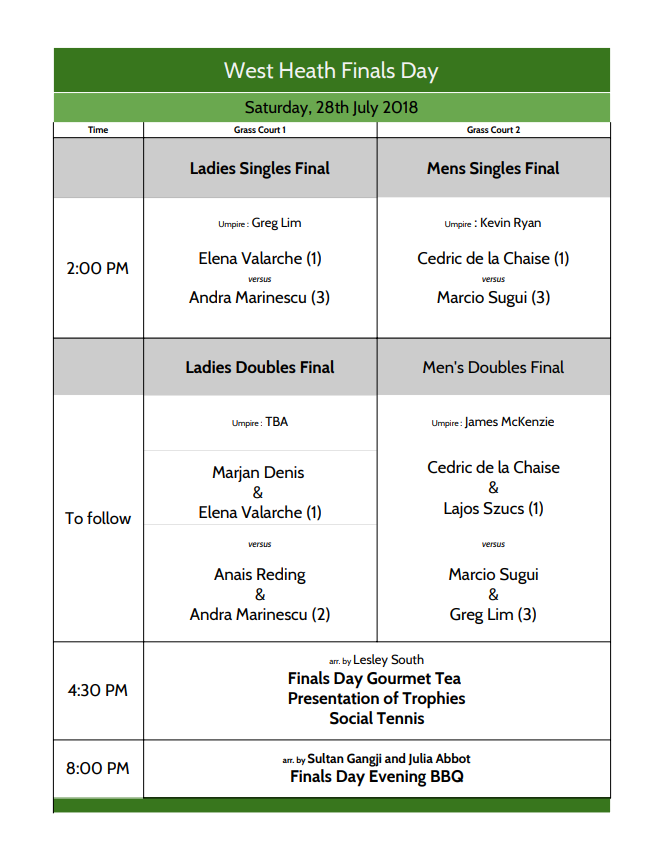Finals day - order of play